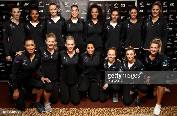 The Silver Ferns pose for a group photo during the New Zealand Silver Ferns squad announcement on August 15 2018 in Auckland New Zealand