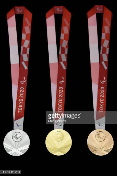 The silver gold and bronze medals are displayed after the Count Down Ceremony of the Tokyo 2020 Paralympic Games One Year To Go at the NHK Hall on...