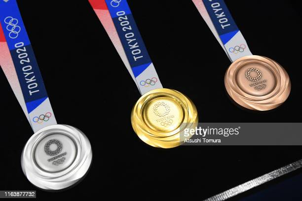 The silver gold and bronze medals are displayed after the Tokyo 2020 medal design unveiling ceremony during Tokyo 2020 Olympic Games One Year To Go...
