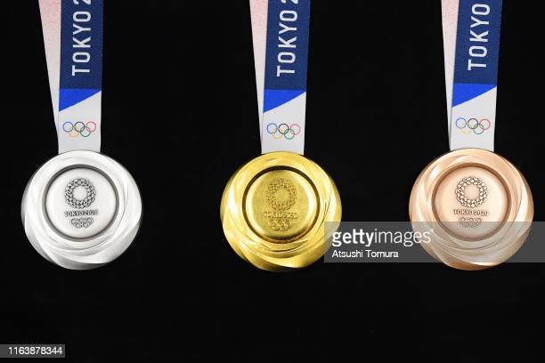 "The silver, gold and bronze medals are displayed after the Tokyo 2020 medal design unveiling ceremony during Tokyo 2020 Olympic Games ""One Year To..."
