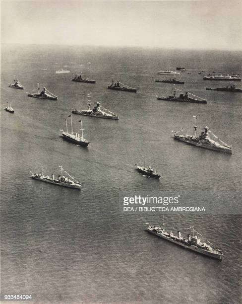 The Silver Jubilee naval Review, the royal Yacht Victoria and Albert in centre, United Kingdom, photograph from The Illustrated London News, July 20,...