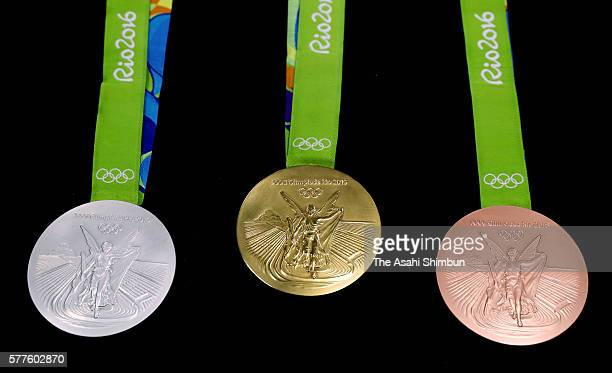 The silver medal gold medal and bronze medal for the Olympic games are displayed on July 18 2016 in Rio de Janeiro Brazil