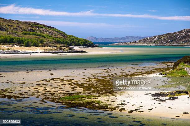 the silver sands of morar, scotland - mallaig stock photos and pictures