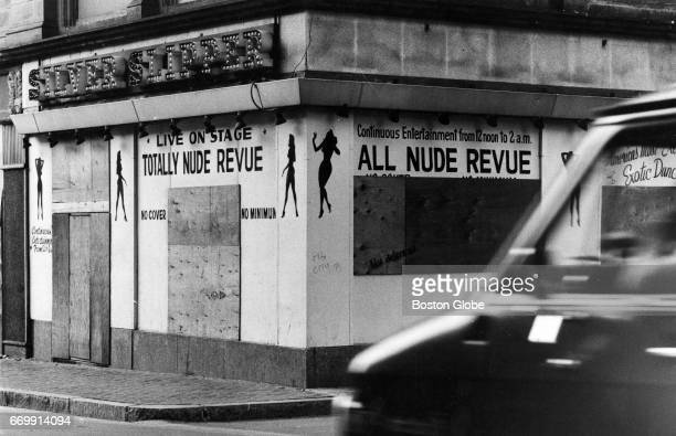 The Silver Slipper Club in the Combat Zone in Boston is boarded up on July 9 1982 Harvard University athlete Andrew Puopolo was stabbed near here...