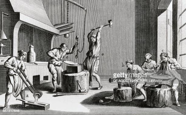 The silversmith's workshop engraving from L'Encyclopedie 17511757 by JeanBaptiste Le Rond d'Alembert and Denis Diderot engraving France 16th17th...