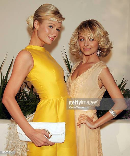 'The Simple Life's' Paris Hilton and Nicole Richie arrive at the 'White Hot Winter on Fox' TCA Party at Meson G on January 17 2005 in Los Angeles...