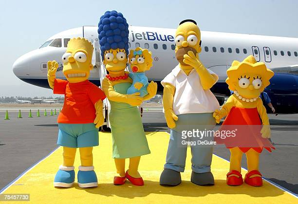The Simpsons family members Homer Marge Bart Lisa and Maggie Simson attending the Simpsons JETBLUE Event at the Million Air Burbank on July 17 2007...