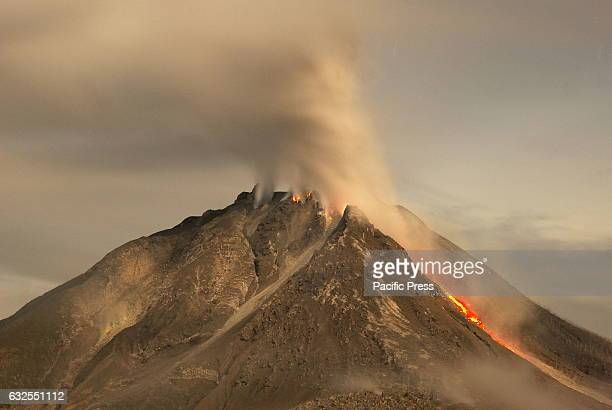 The Sinabung volcano stretched after the earthquake that shook the region Deli Serdang with the power of 5 one the Richter scale Six weeks ago there...