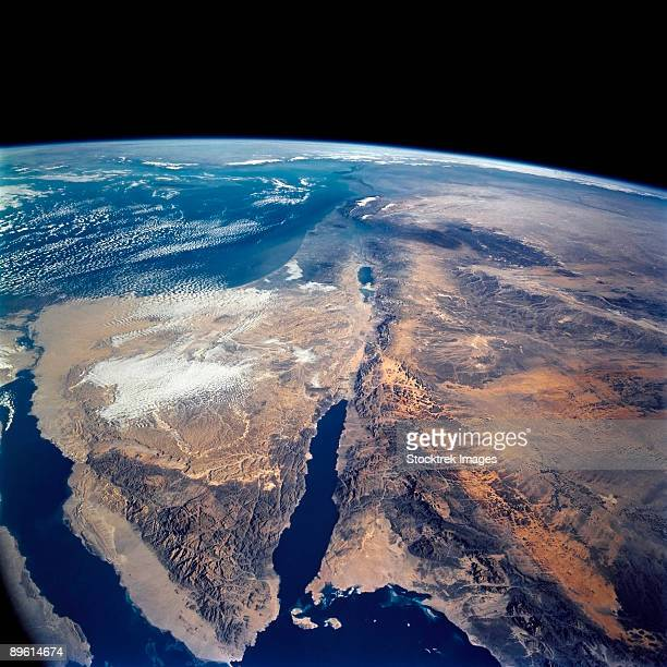the sinai peninsula and the dead sea rift. - satellite view stock pictures, royalty-free photos & images