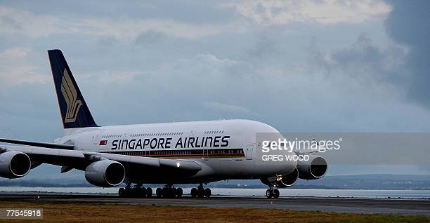 The Singapore Airlines A380 prepares for a takeoff at Sydney International airport 26 October 2007 The world's biggest airliner left Australia for...