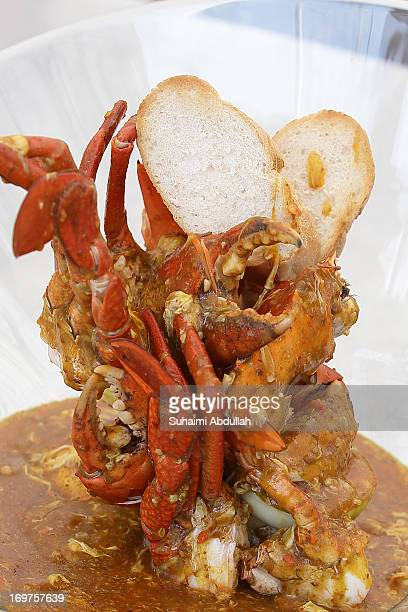 The Singapore iconic street flavor of the Chilli Crab from the Lion City restaurant is seen during the World Street Food Jamboree at the F1 Pit...