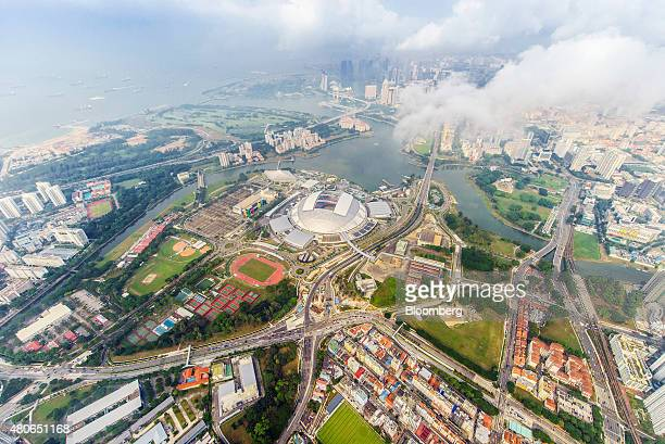 The Singapore National Stadium stands at the Singapore Sports Hub center in the Kallang basin area in this aerial photograph taken above Singapore on...