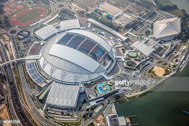 The Singapore National Stadium stands at the Singapore Sports Hub in the Kallang basin area in this aerial photograph taken above Singapore, on...