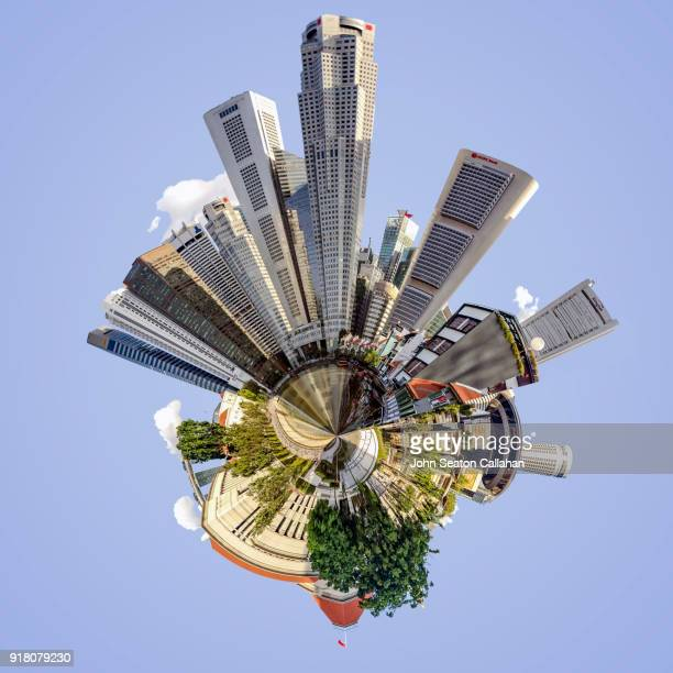 the singapore river and boat quay - little planet format stock photos and pictures