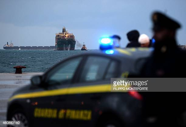 The Singaporeflagged cargo container ship 'Siprit of Piraeus' carrying 49 passengers evacuated from the ferry 'Norman Atlantic' arrives in the harbor...