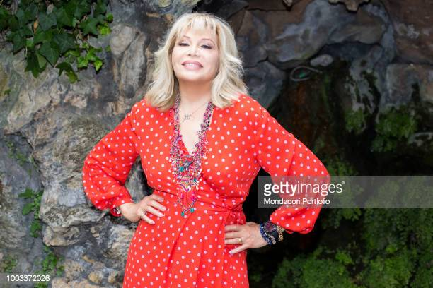 The singer actress and exmodel Amanda Lear poses in the garden of the Hotel De Russie Rome July 23th 2018