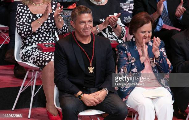 The singer Alejandro Sanz , named Son of Seville, gestures during the act of delivery of the titles of Favorite Son and Medals of the City, in the...
