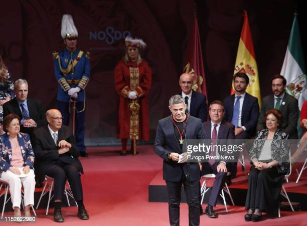The singer Alejandro Sanz , named Son of Seville, speaks during the act of delivery of the titles of Favorite Son and Medals of the City, in the Lope...