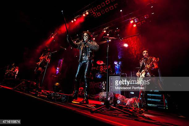 The singer Alice Cooper performing with his band at the racetrack of Milan in a photo shooting Milan Italy 30th July 2012