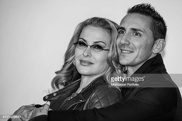 The singer Anastacia and the singersongwriter Kekko in the backstage of the concert at Fabrique in Milan Milan Italy 27th October 2014