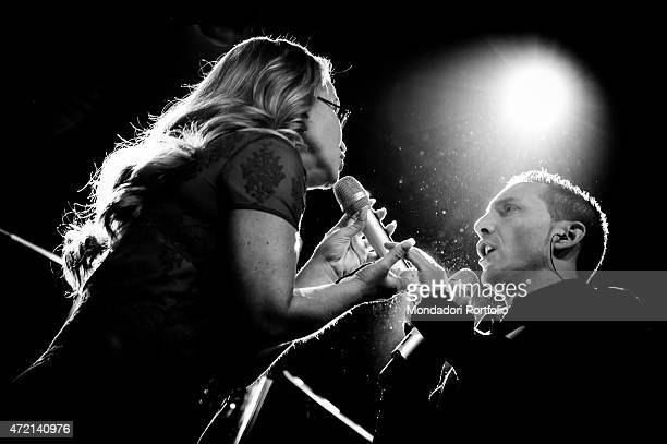 The singer Anastacia and the singersongwriter Kekko performing at Fabrique in Milan Milan Italy 27th October 2014