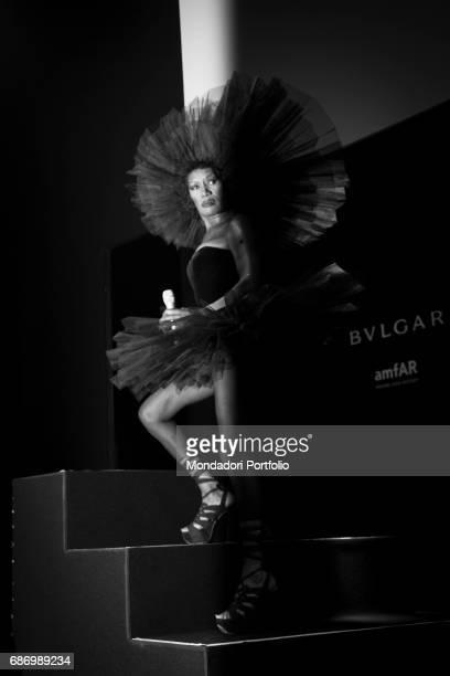 The singer and actress Grace Jones performing at the Milan Fashion Week Milan Italy 25th September 2014