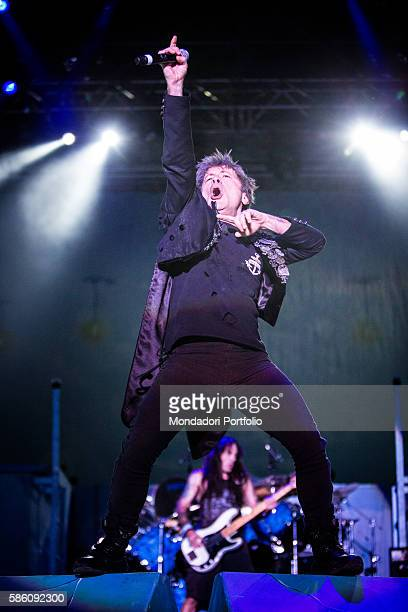 The singer and the bassist of the band Iron Maiden Bruce Dickinson and Steve Harris in concert for the Rock in Idro Festival at the Arena Parco Nord...