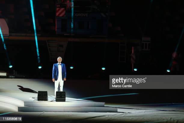 The singer Andrea Bocelli performs live during the opening ceremony of the 2019 Universiade in Naples, inside the San Paolo stadium.