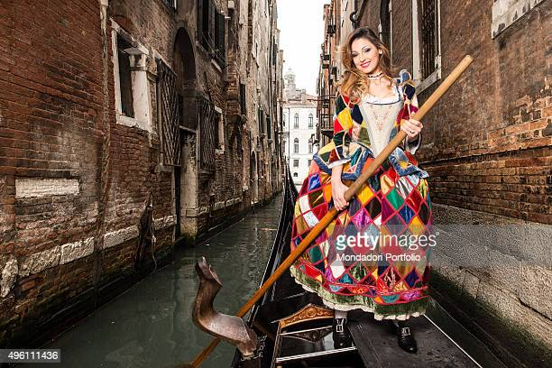 The singer Anna Tatangelo sponsor of the Carnival of Venice posing for a photo shooting wearing a eighteenthcentury courtesan costume inspired by...