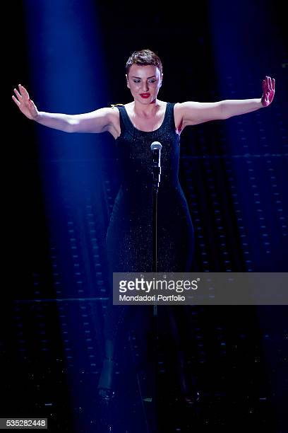 The singer Arisa on stage at the 66th Sanremo Music Festival Sanremo Italy 12th February 2016