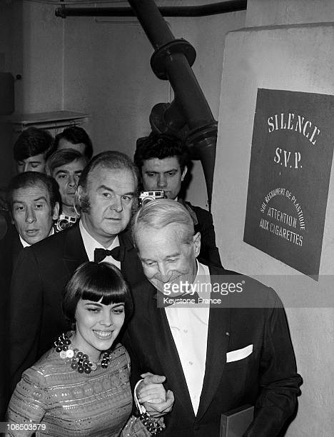 The Singer Awarded To Maurice Chevalier The Triomphe De La Carriere Internationale On The Second Part Of The Nuit Du Cinema At The Theatre Marigny On...