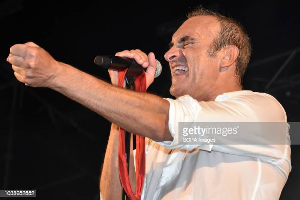 The singer Benito Inglada of the musical group Hotel Cochambre seen performing live Hotel Cochambre a musical and theatrical group performs with...