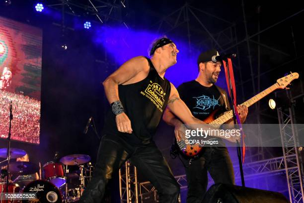 The singer Benito Inglaga and guitarist Dany Cuava of the musical group Hotel Cochambre seen performing live Hotel Cochambre a musical and theatrical...