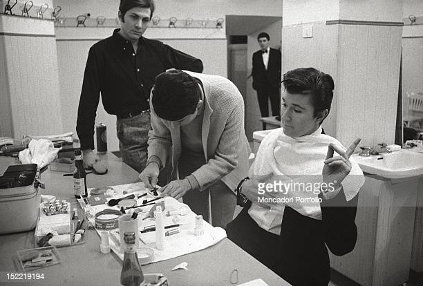 The singer Bobby Solo by the makeup artist before his performance at the Sanremo Song Festival He takes part into the competition with the song...