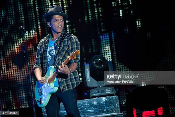 The singer Bruno Mars performing at Mediolanum Forum in a photo shooting Milan Italy 10th October 2011