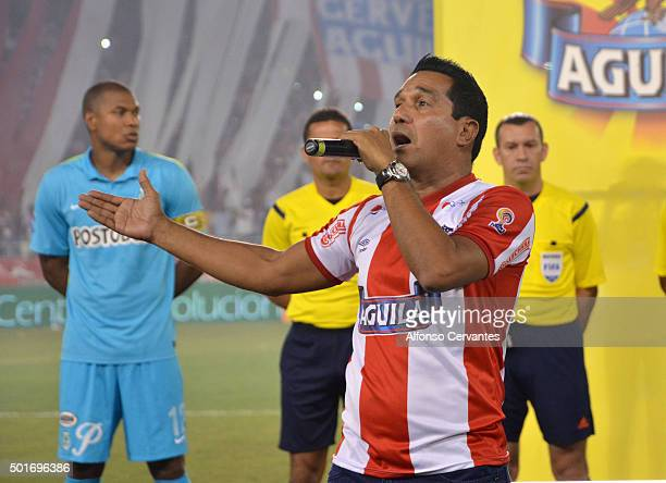The singer Checo Acosta performs prior a first leg final match between Atletico Junior and Atletico Nacional as part of Liga Aguila II 2015 at...