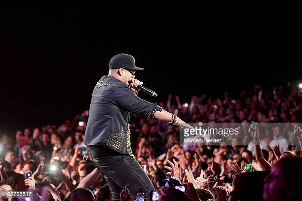 The singer Daddy Yankee of Puerto Rico sings on stage at the Quinta Vergara during the 53rd Vina del Mar International Music Festival on February 25,...