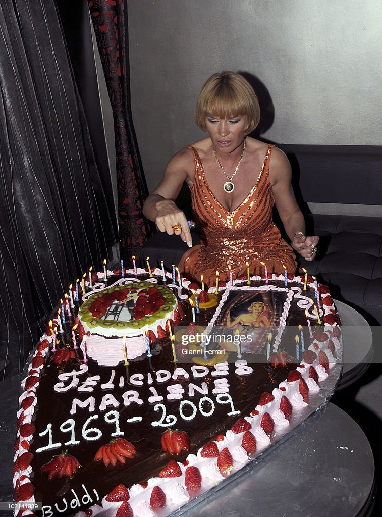 The singer, dancer, actress and French star Marlene Mourreau the day of his birthday, with his tart, 21th April 2009, club 'Jhambala', Madrid, Spain.