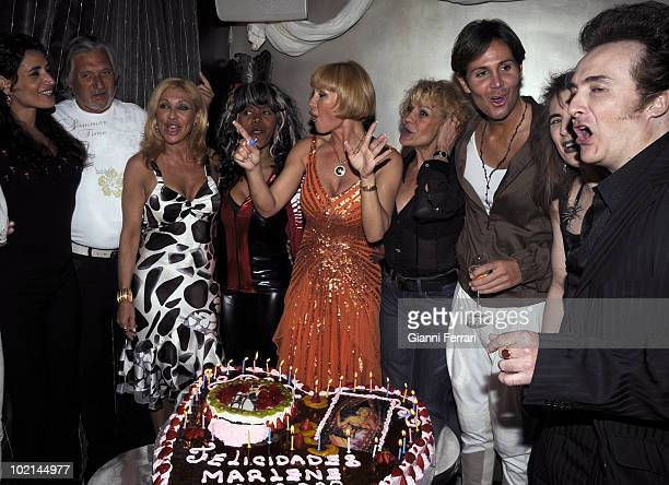 The singer dancer actress and French star Marlene Mourreau the day of his birthday with Marc Ostarcevic Jenny Llada Regina dos Santos and Rosa...