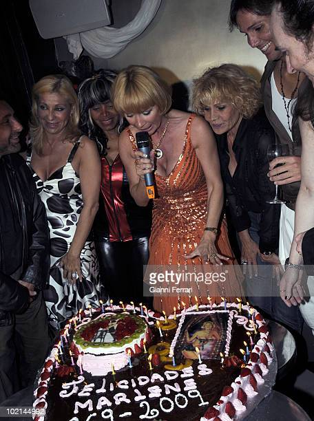 The singer dancer actress and French star Marlene Mourreau the day of his birthday with Jose Manuel Parada Jenny LLada Regina do Santos Rosa Valenti...