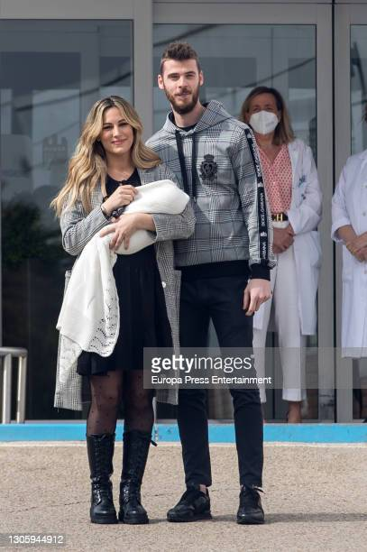 The singer Edurne and the football soccer David de Gea present their daughter Yanay on March 07, 2021 in Madrid, Spain.