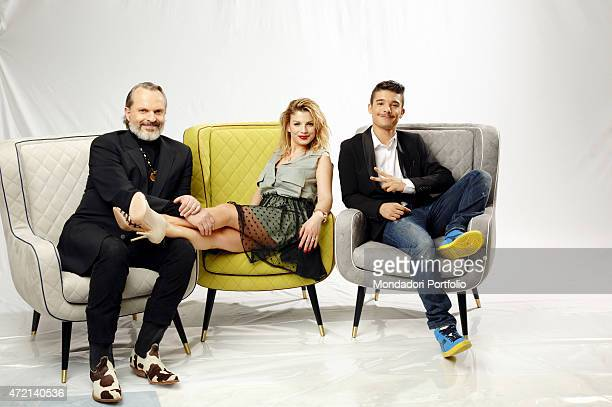 'The singer Emma the rapper Moreno and the actor and singersongwriter Miguel Bos posing at Helios studios where the talent show Amici di Maria De...
