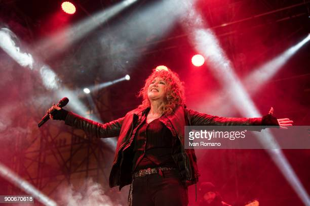 The singer Fiorella Mannoia performs on stage during the New Year's Eve concert on December 31 2017 in Salerno Italy
