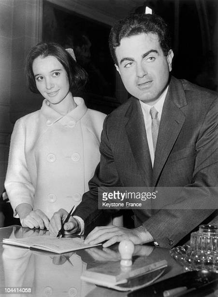 The singer Guy BEART married Cecile BONNEFOY DU CHARMEL seen signing the register at the town hall of NeuillysurSeine on March 7 1959A civil engineer...