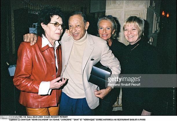 The singer Henri Salvador his wife Catherine Dani and Veronique Motorola party at the Resaurant Barloti in Paris