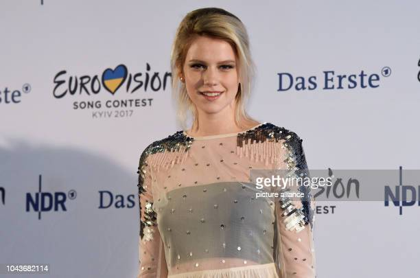 The singer Isabella 'Levina' Lueen stands on stage at a press conference regarding the 'Eurovision Song Contest - Our Song 2017' event in Cologne,...