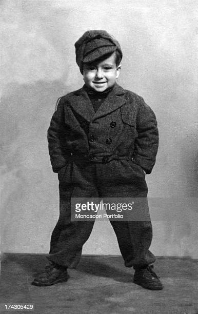 The singer Lucio Dalla smiling when he was a child Italy 1948
