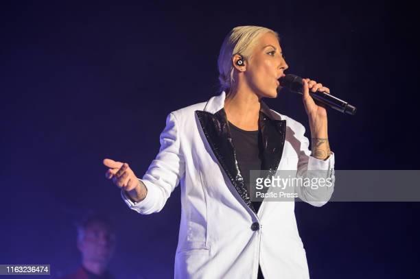 The singer Malika Ayane performs on stage of Villa Bertelli at Forte dei Marmi