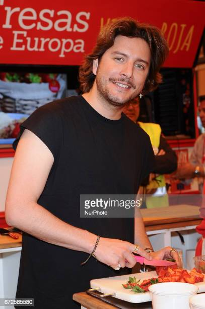 The singer Manu Carrasco attends a promotional event of the ' 'Fresas de Europa' at IFEMA Madrid Spain April 25 201