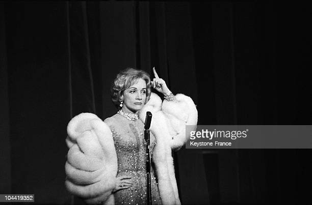 The Singer Marlene Dietrich Sings At The 'Theatre De L'Etoile' In Paris The 28Th November 1959